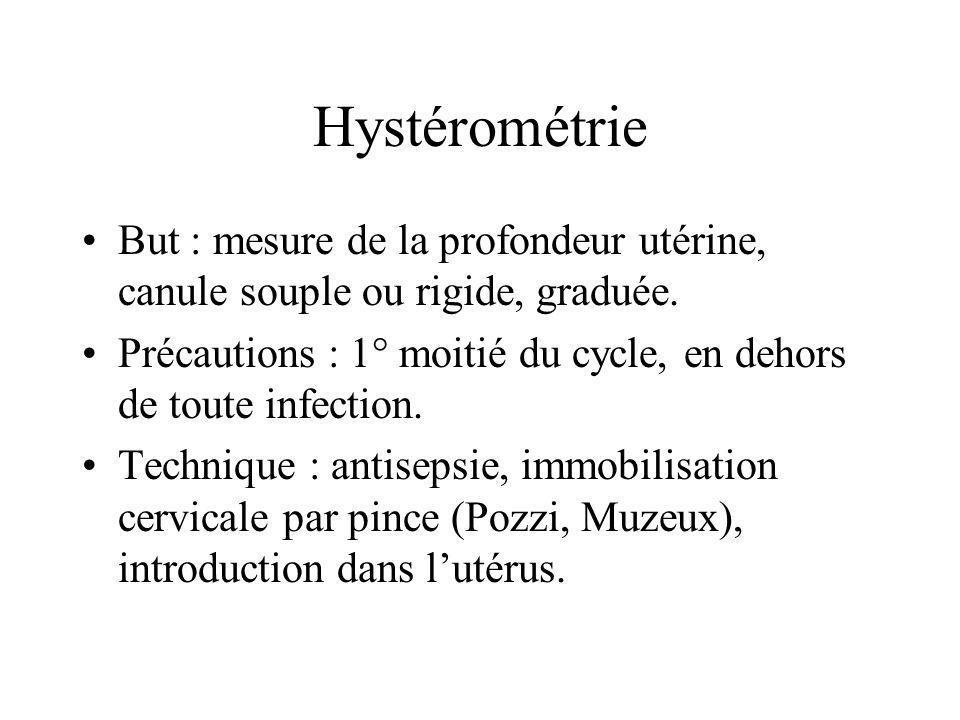 Hystérométrie But : mesure de la profondeur utérine, canule souple ou rigide, graduée.