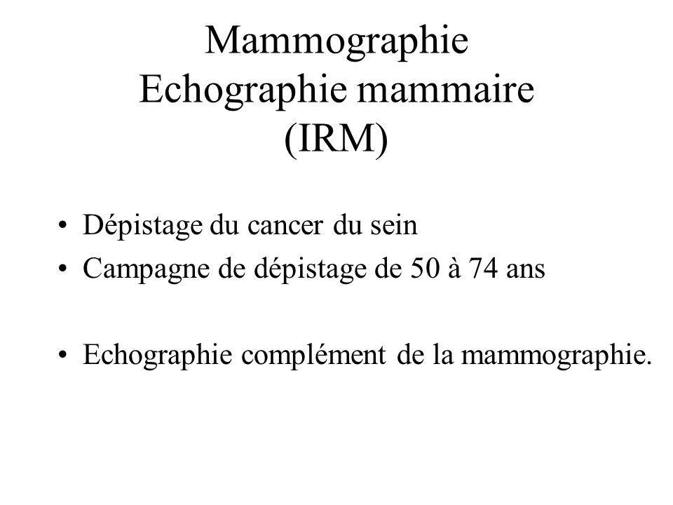 Mammographie Echographie mammaire (IRM)