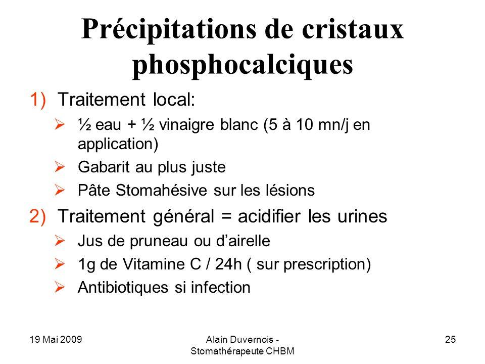 Précipitations de cristaux phosphocalciques