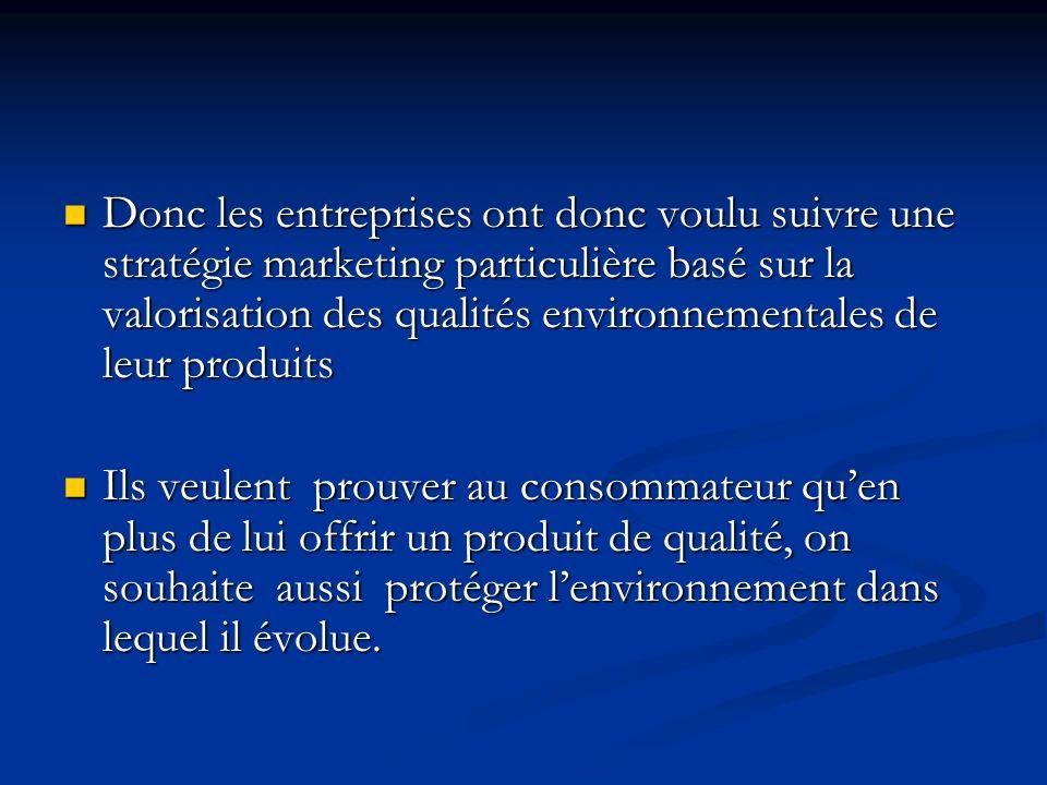 Donc les entreprises ont donc voulu suivre une stratégie marketing particulière basé sur la valorisation des qualités environnementales de leur produits