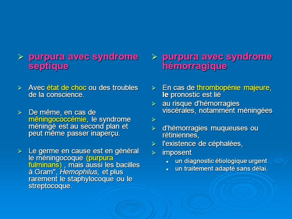 purpura avec syndrome septique purpura avec syndrome hémorragique