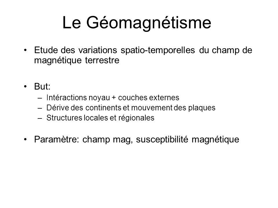 Le Géomagnétisme Etude des variations spatio-temporelles du champ de magnétique terrestre. But: Intéractions noyau + couches externes.
