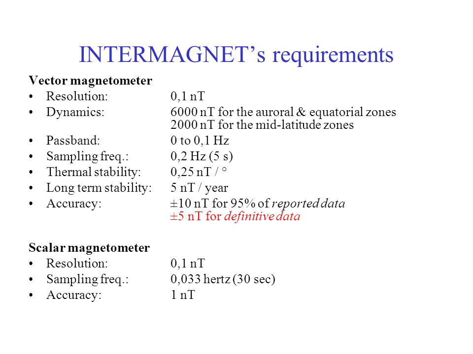 INTERMAGNET's requirements