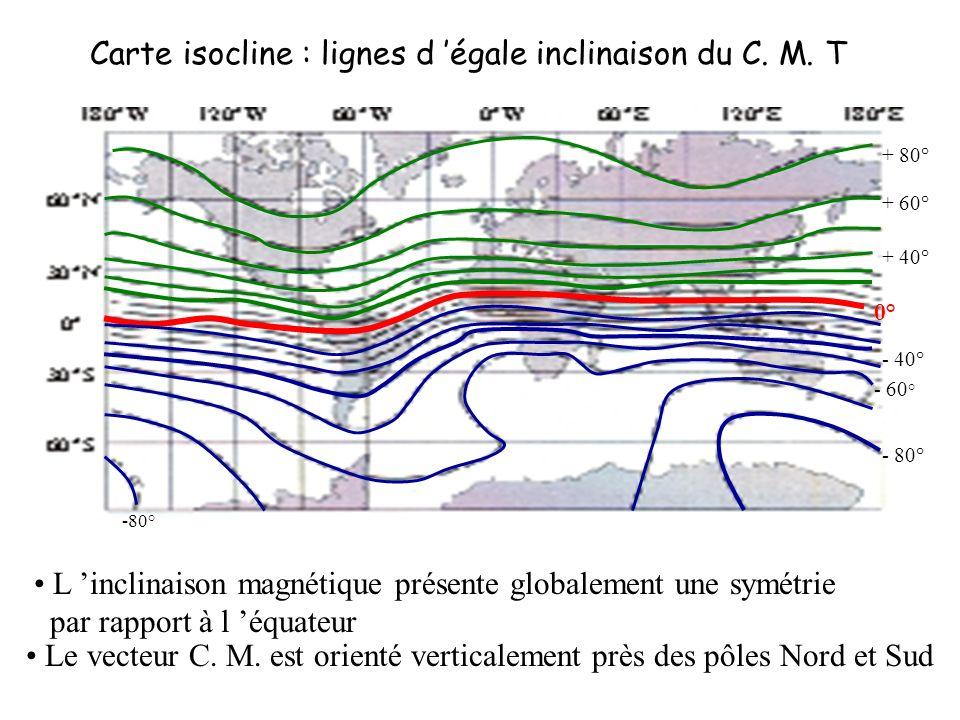 Carte isocline : lignes d 'égale inclinaison du C. M. T