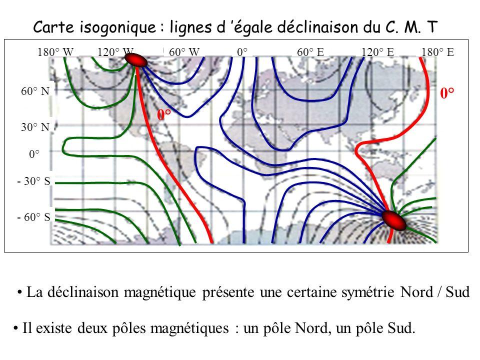 Carte isogonique : lignes d 'égale déclinaison du C. M. T