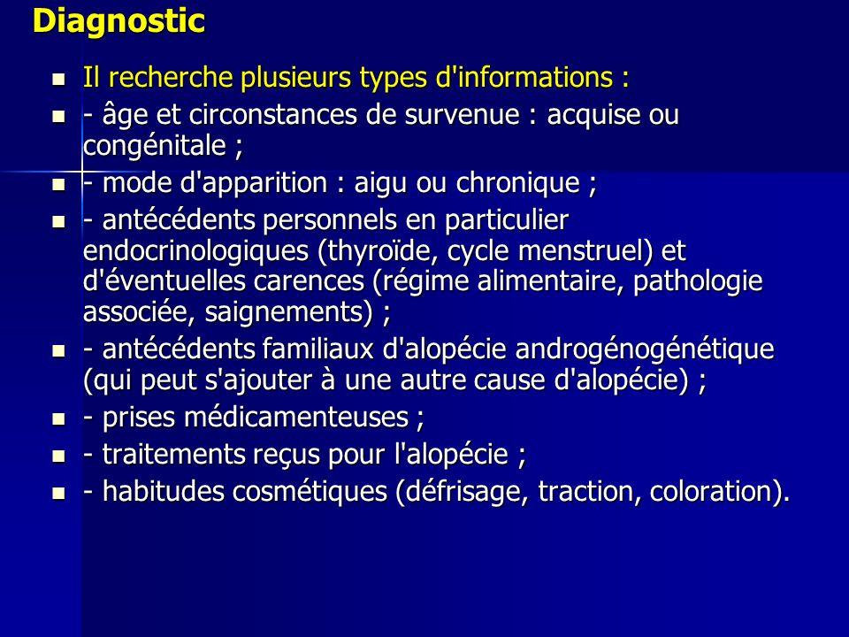 Diagnostic Il recherche plusieurs types d informations :