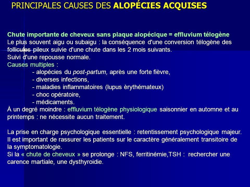 PRINCIPALES CAUSES DES ALOPÉCIES ACQUISES