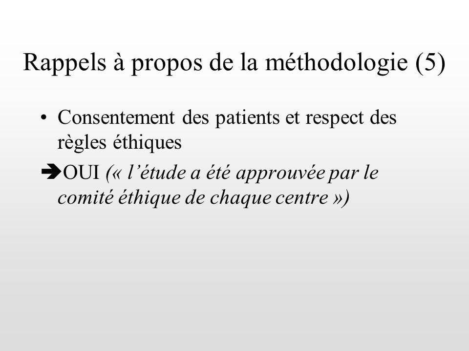 Rappels à propos de la méthodologie (5)