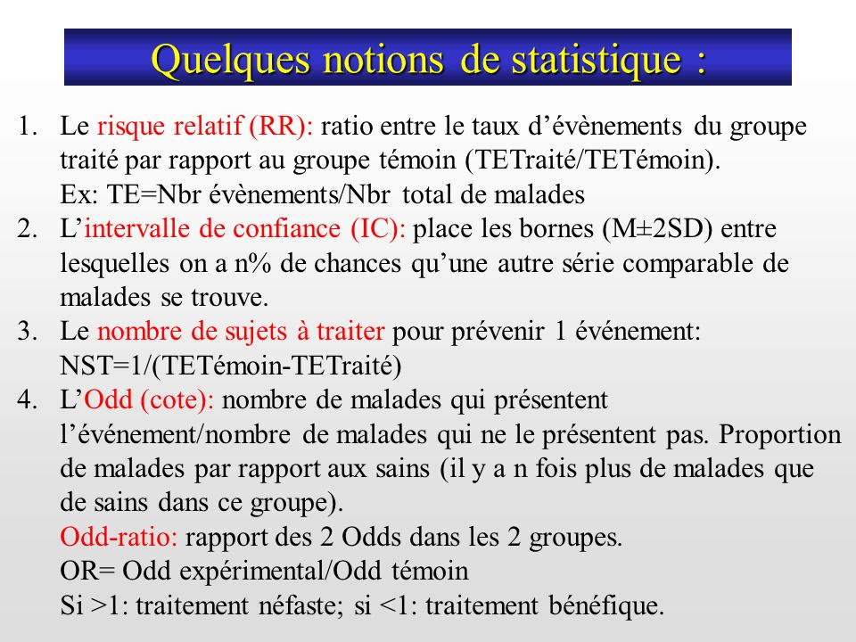 Quelques notions de statistique :