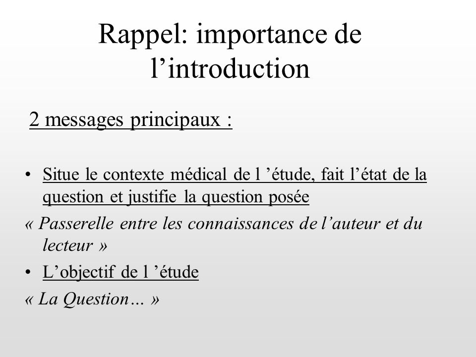 Rappel: importance de l'introduction
