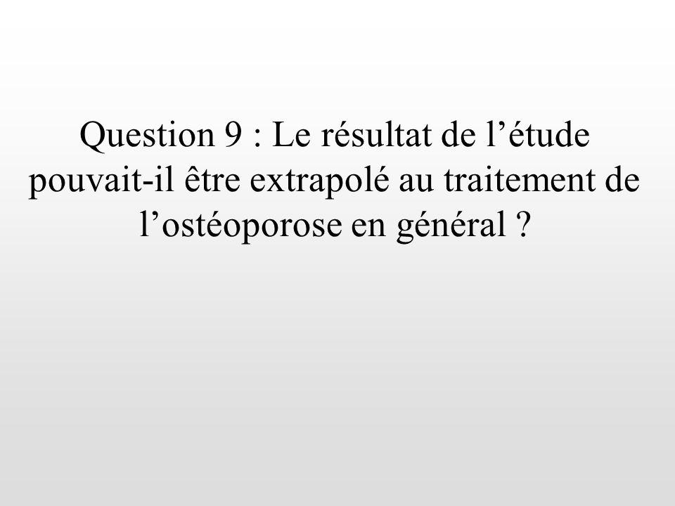 Question 9 : Le résultat de l'étude pouvait-il être extrapolé au traitement de l'ostéoporose en général
