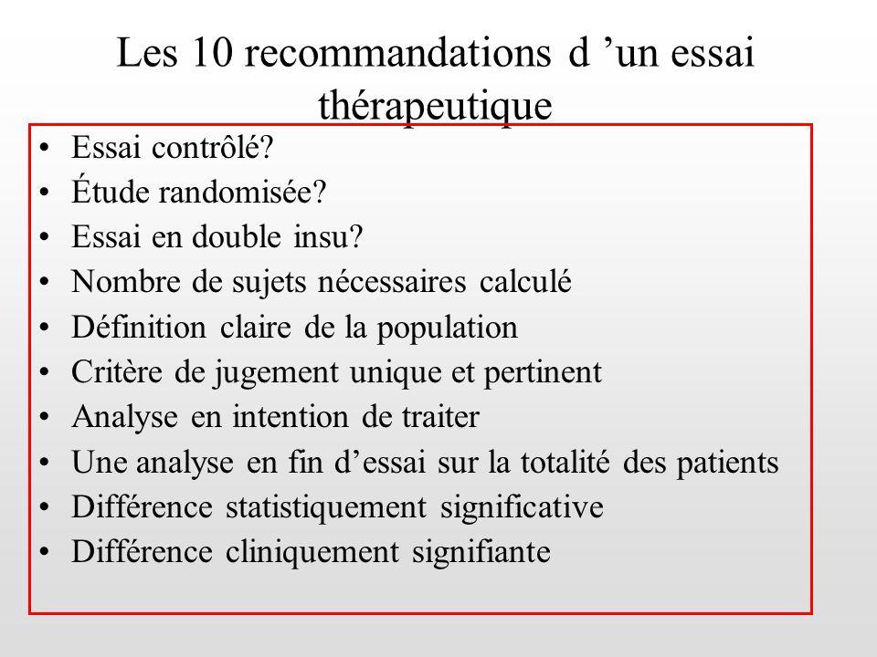 Les 10 recommandations d 'un essai thérapeutique