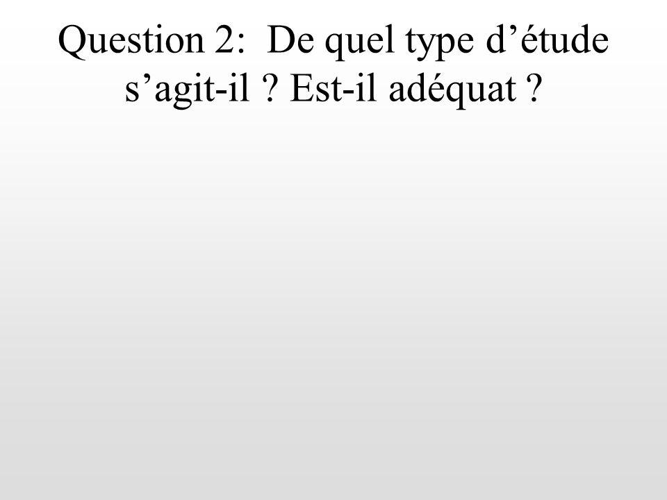Question 2: De quel type d'étude s'agit-il Est-il adéquat