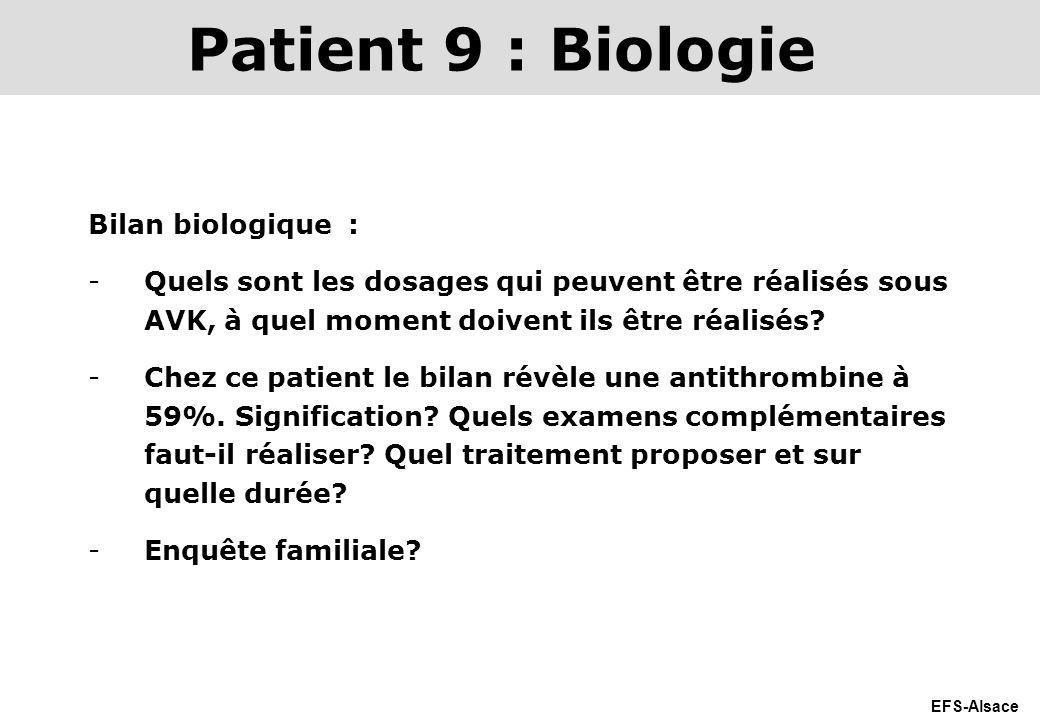 Patient 9 : Biologie Bilan biologique :