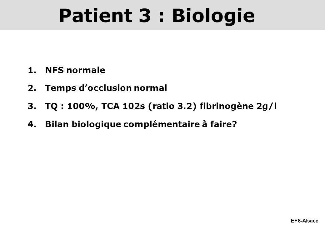 Patient 3 : Biologie NFS normale Temps d'occlusion normal