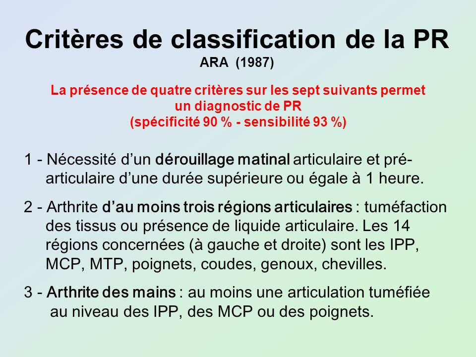 Critères de classification de la PR