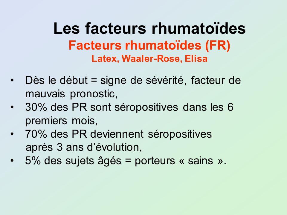 Facteurs rhumatoïdes (FR) Latex, Waaler-Rose, Elisa