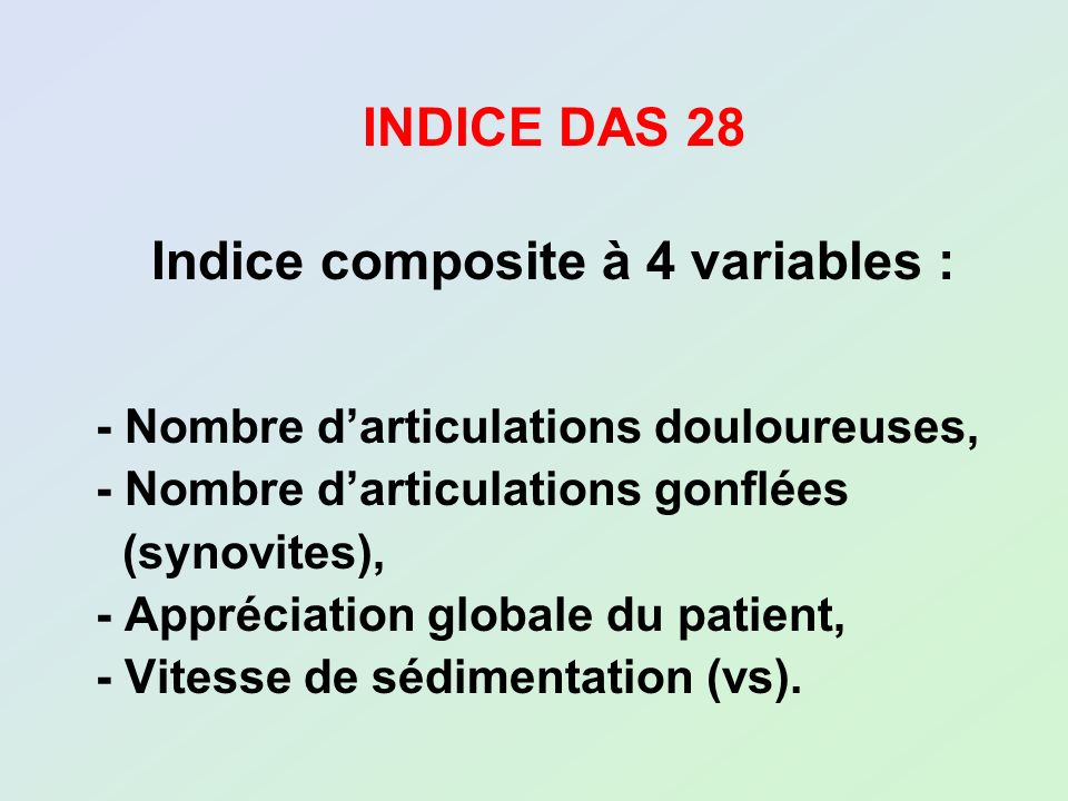 Indice composite à 4 variables :