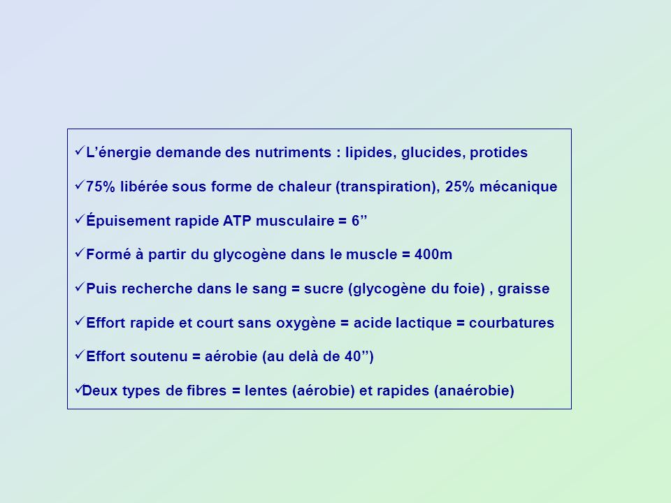 L'énergie demande des nutriments : lipides, glucides, protides