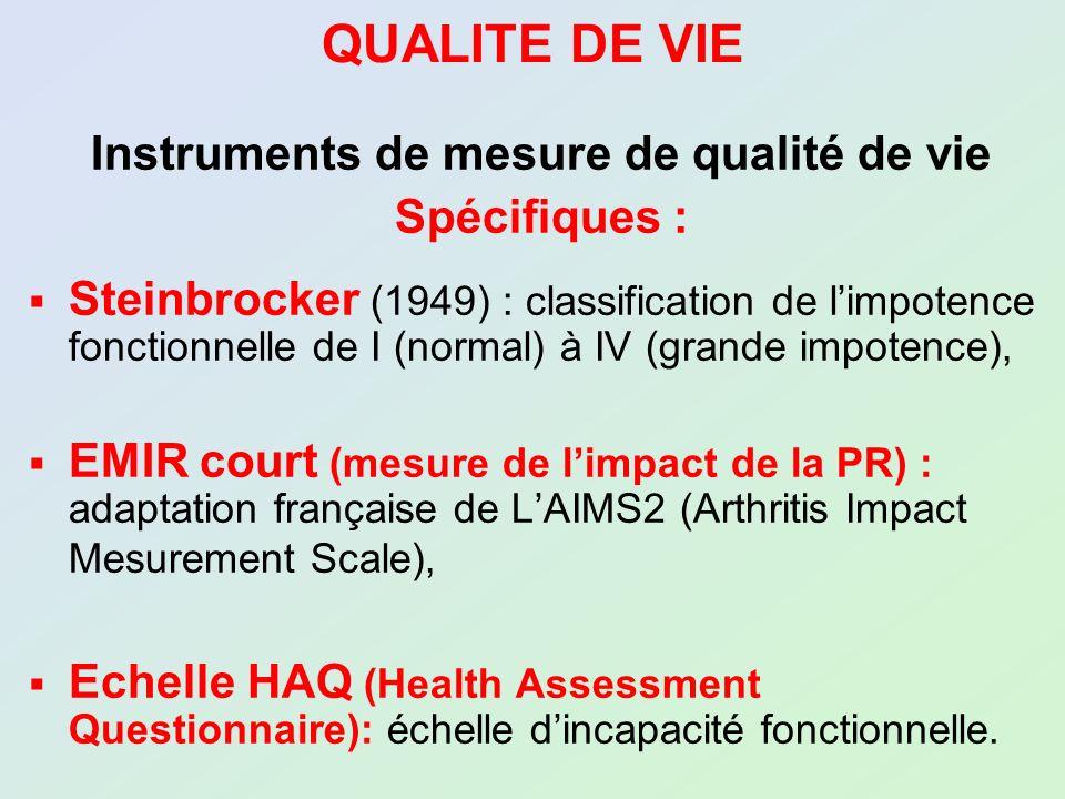 Instruments de mesure de qualité de vie