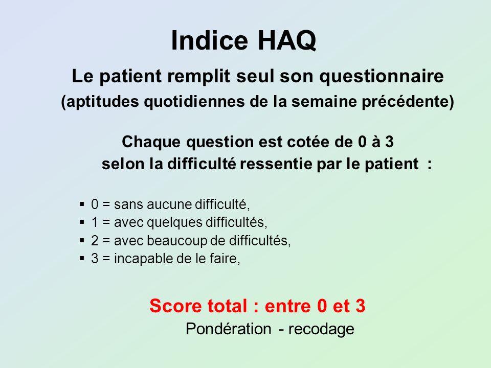 Indice HAQ Le patient remplit seul son questionnaire