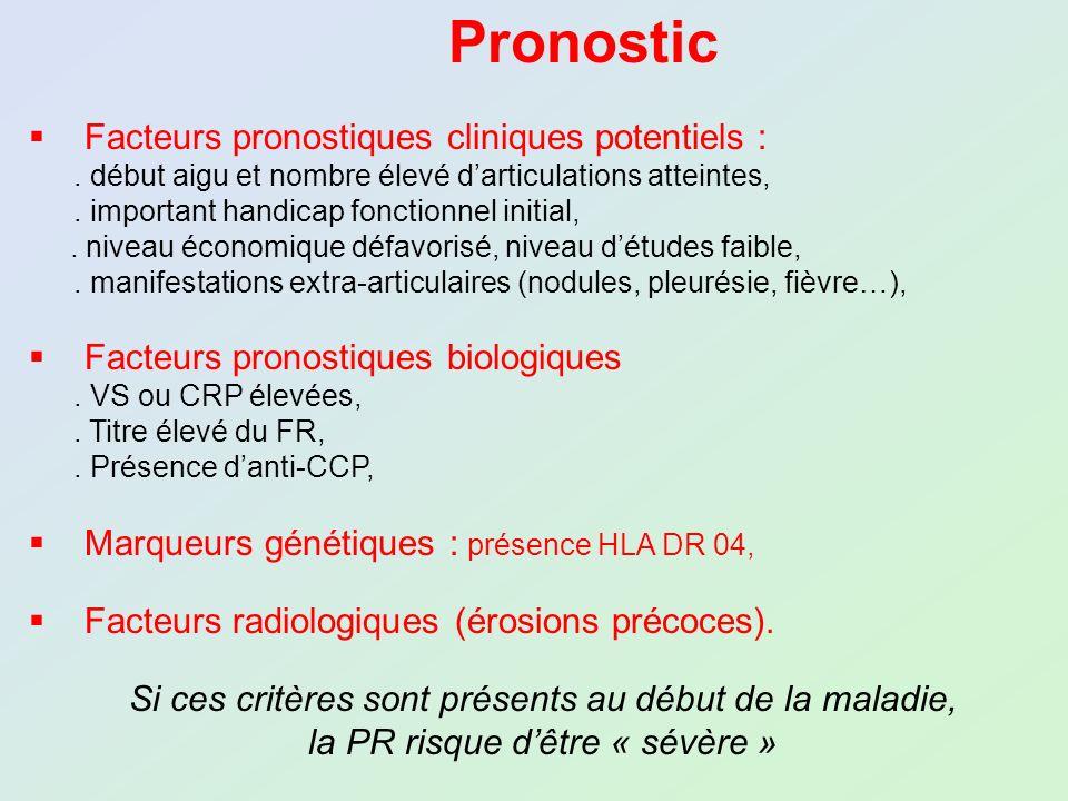 Pronostic Facteurs pronostiques cliniques potentiels :