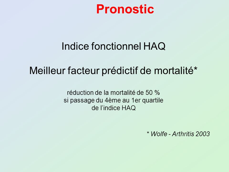 Pronostic Indice fonctionnel HAQ