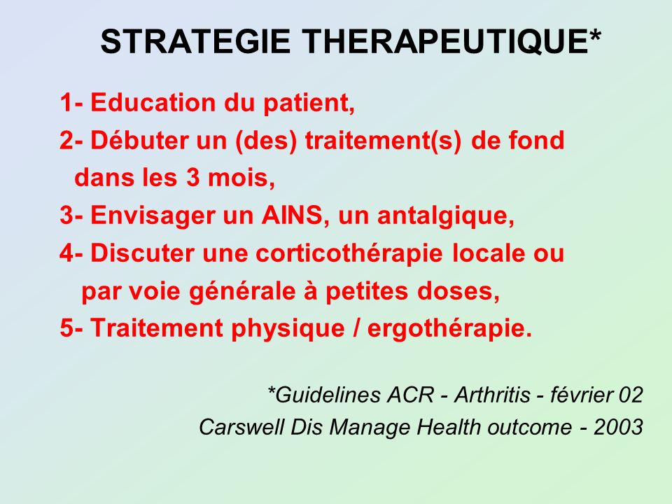 STRATEGIE THERAPEUTIQUE*