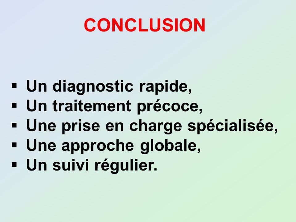 CONCLUSION Un diagnostic rapide, Un traitement précoce,