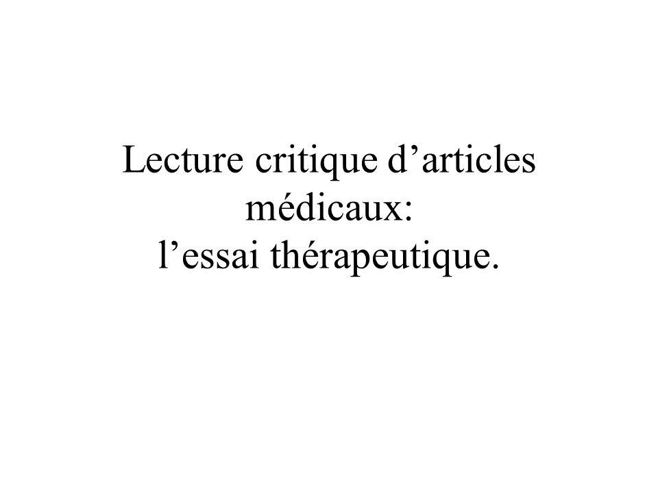 Lecture critique d'articles médicaux: l'essai thérapeutique.