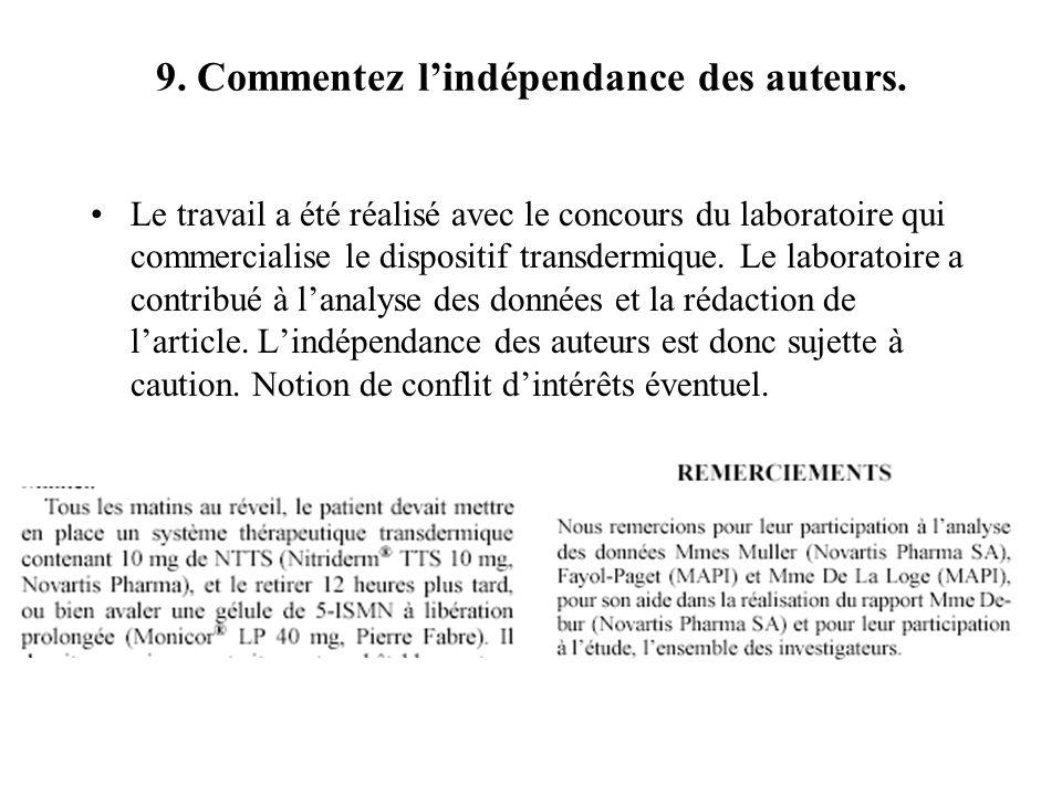9. Commentez l'indépendance des auteurs.