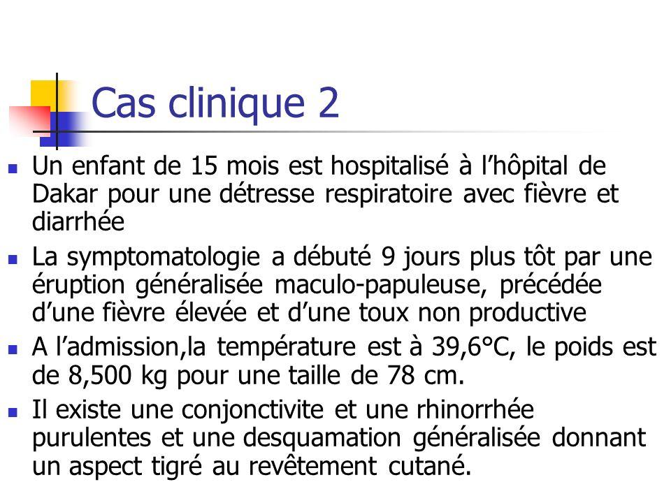 Cas clinique 2 Un enfant de 15 mois est hospitalisé à l'hôpital de Dakar pour une détresse respiratoire avec fièvre et diarrhée.