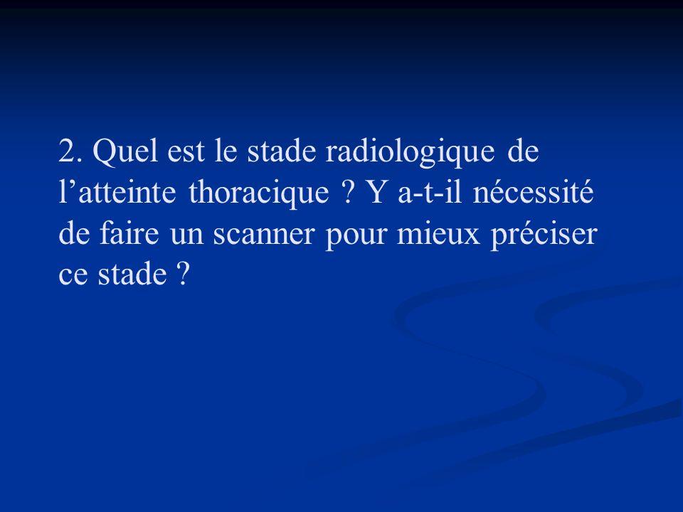 2. Quel est le stade radiologique de l'atteinte thoracique