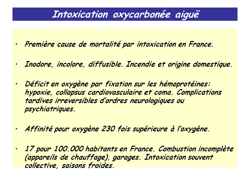 Intoxication oxycarbonée aiguë