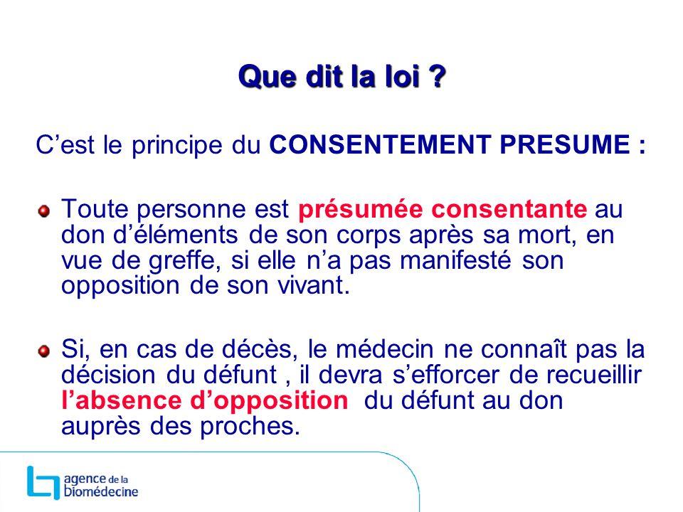 Que dit la loi C'est le principe du CONSENTEMENT PRESUME :