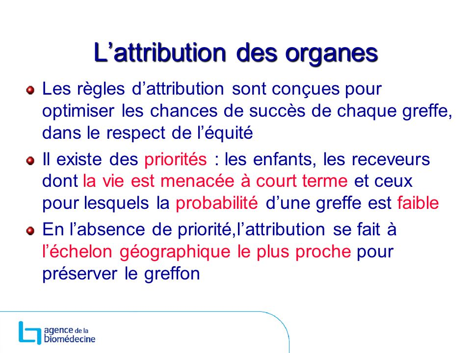 L'attribution des organes