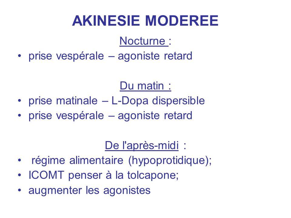 AKINESIE MODEREE Nocturne : prise vespérale – agoniste retard