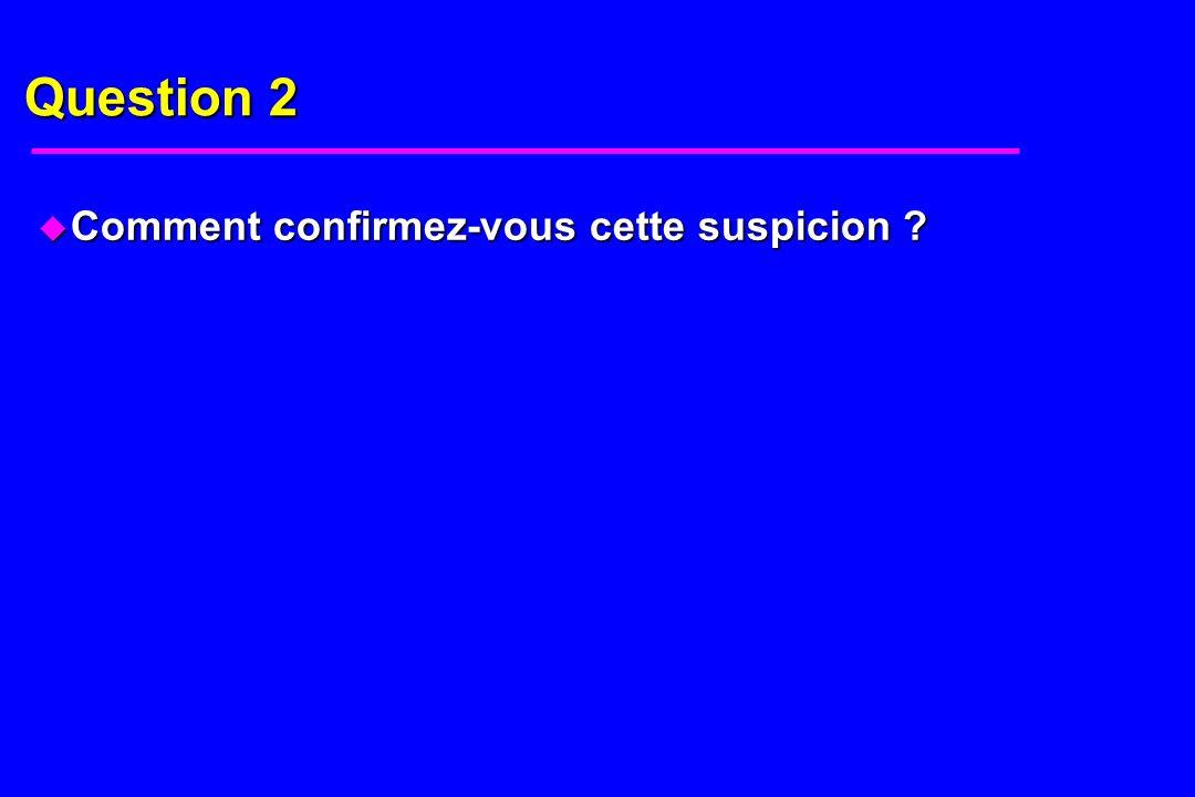 Question 2 Comment confirmez-vous cette suspicion