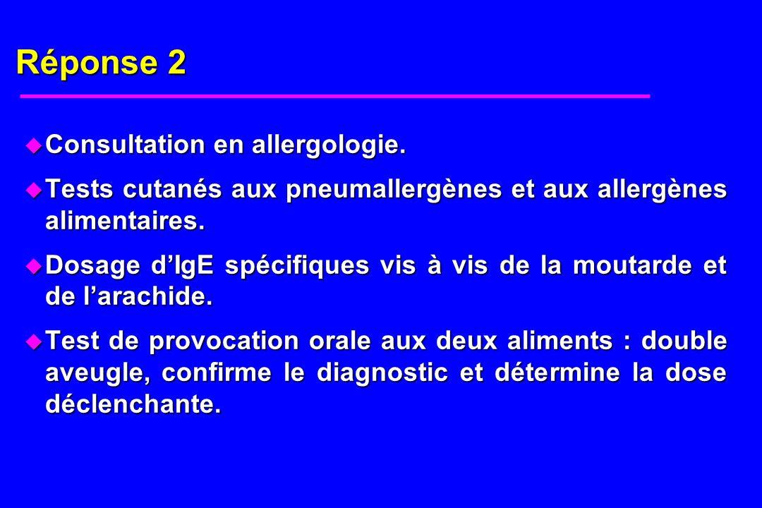 Réponse 2 Consultation en allergologie.
