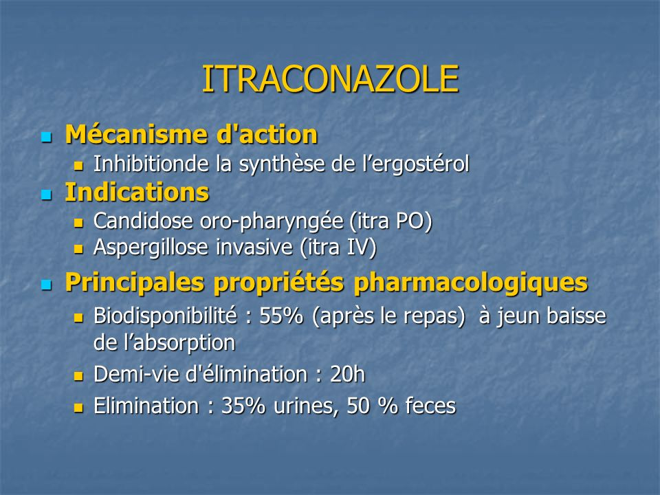 ITRACONAZOLE Mécanisme d action Indications