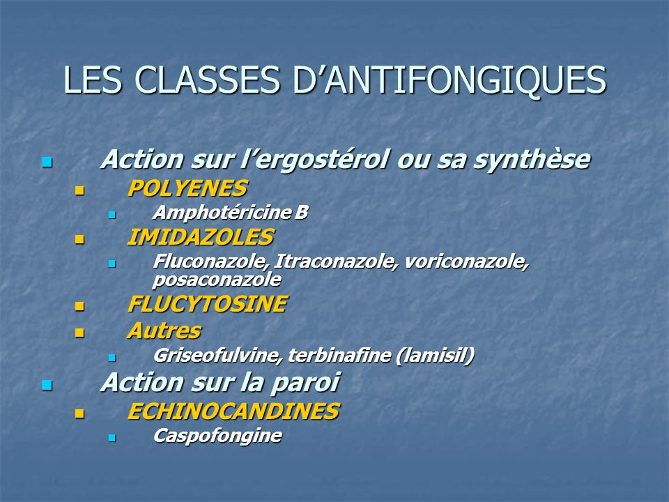 LES CLASSES D'ANTIFONGIQUES