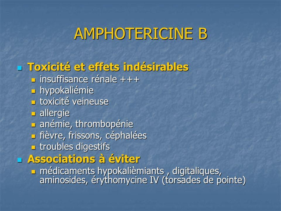AMPHOTERICINE B Toxicité et effets indésirables Associations à éviter