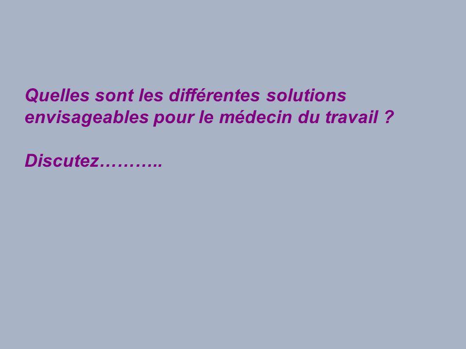 Quelles sont les différentes solutions envisageables pour le médecin du travail