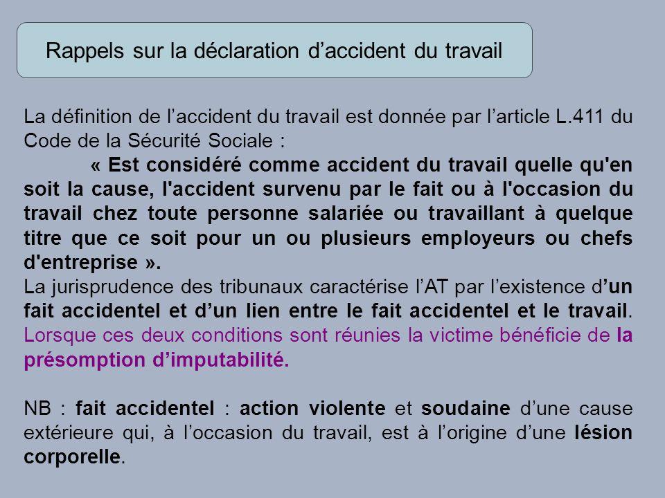 Rappels sur la déclaration d'accident du travail