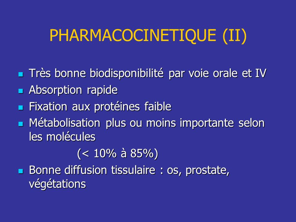 PHARMACOCINETIQUE (II)