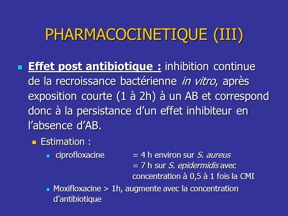 PHARMACOCINETIQUE (III)
