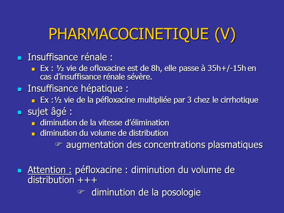 PHARMACOCINETIQUE (V)