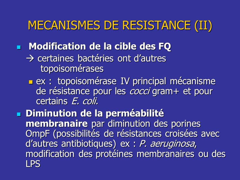 MECANISMES DE RESISTANCE (II)