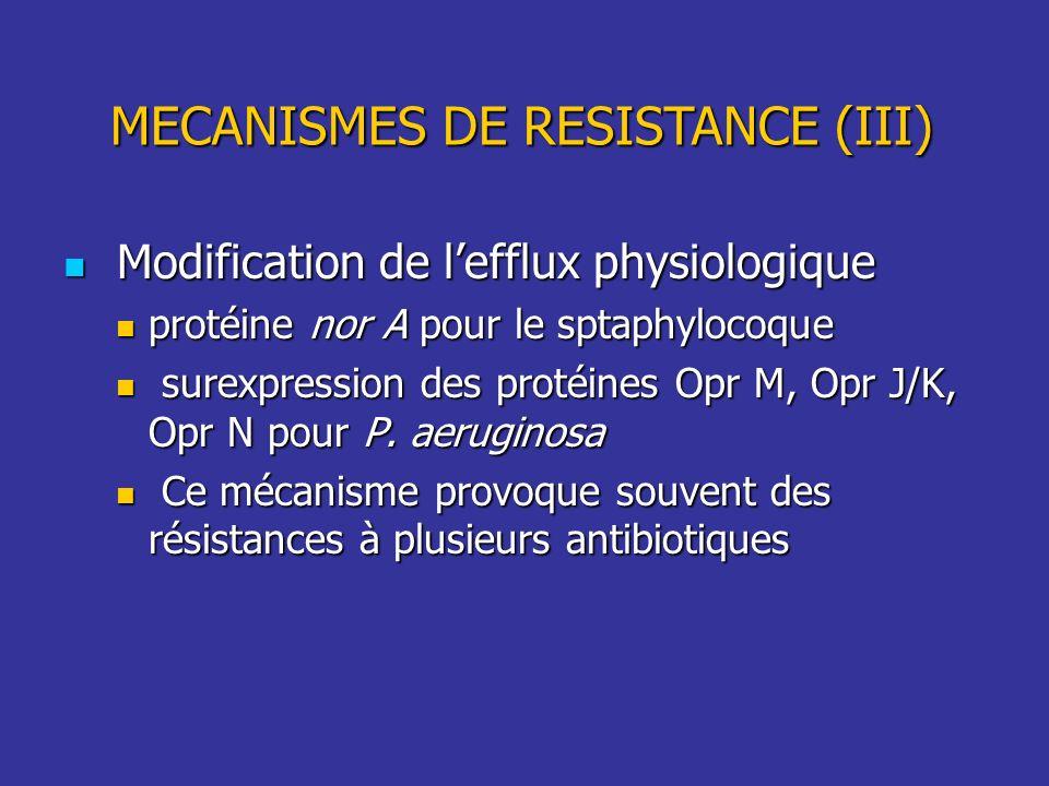 MECANISMES DE RESISTANCE (III)