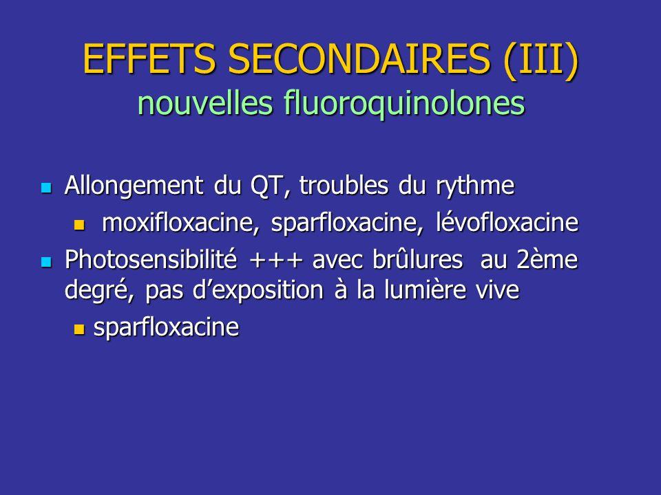 EFFETS SECONDAIRES (III) nouvelles fluoroquinolones